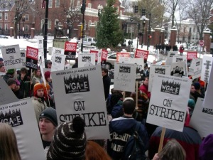 The scene at the WGA Rally in Cambridge, MA (December 2007)