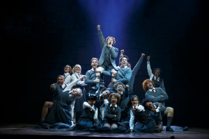 Evan Gray (top center) and the Company of Matilda The Musical National Tour.  Photo by Joan Marcus