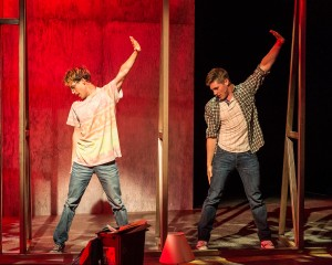 "L - R: Ryder Bach and Curt Hansen in ""Girlfriend,"" with book by Todd Almond and music and lyrics by Matthew Sweet. Directed by Les Waters, ""Girlfriend"" is playing at the Center Theatre Group/Kirk Douglas Theatre, July 12 through August 9, 2015. For tickets and information, please visit CenterTheatreGroup.org or call (213) 628-2772.  Contact: CTGMedia@CenterTheatreGroup.org / (213) 972-7376 Photo by Craig Schwartz"
