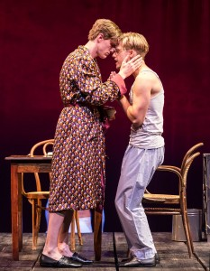 "L-R: Patrick Heusinger and Andy Mientus in Martin Sherman's ""Bent,"" directed by Moisés Kaufman, playing July 15 – August 23, 2015, at the Center Theatre Group/Mark Taper Forum. For tickets and information, please visit CenterTheatreGroup.org or call (213) 628-2772.   Contact:  CTG Media and Communications/ (213) 972-7376/CTGMedia@ctgla.org Photo by Craig Schwartz"